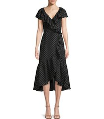 birdseye dot ruffled wrap dress