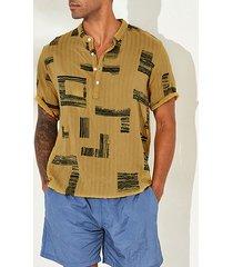 incerun hombre verano casual estampado fino transpirable camisa