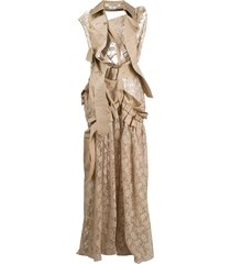 junya watanabe deconstructred trench & lace dress - neutrals