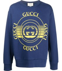 gucci interlocking g logo print sweatshirt - blue
