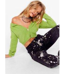 womens tell 'em off-the-shoulder fluffy knit cardigan - green