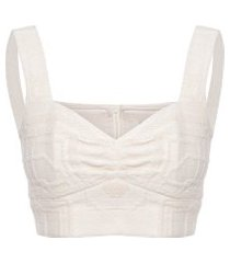top cropped alça - off white