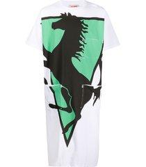 raf simons prancing horse mid-length t-shirt - white