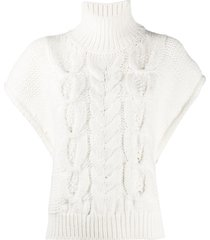 iro short sleeved cable-knit sweater - white