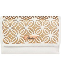 buxton women's metallic laser cut rfid mid-size trifold wallet