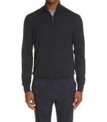 ermenegildo zegna high performance quarter zip wool sweater, size 48 us in navy at nordstrom