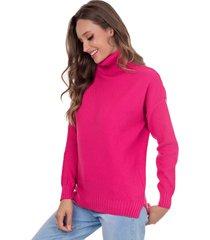 blusa myah lolla rosa gola alta em tricô