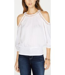 inc crochet-trim cold-shoulder top, created for macy's