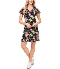 cece petite flutter-sleeve floral-print dress