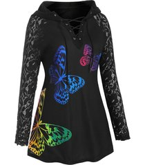 lace up butterfly raglan sleeve lace panel plus size hoodie