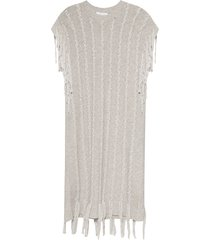 cashmere dress with fringes
