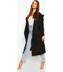 extreme oversized hooded wool look coat, black