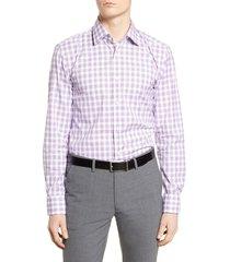 men's big & tall boss slim fit plaid dress shirt, size 18 - purple