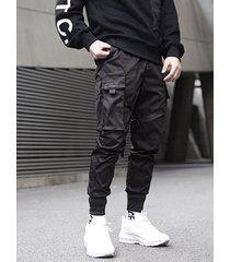 hombres monos de bolsillo multi de moda sueltos casuales cónicos pantalones