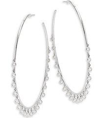 shaker 14k white gold & diamond charm hoop earrings