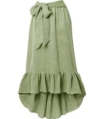 nicole belted ruffled linen-blend gauze midi skirt
