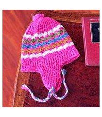 100% alpaca chullo hat, 'rose fiesta' (peru)
