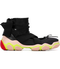 red valentino red (v) ankle tie low-top sneakers - black