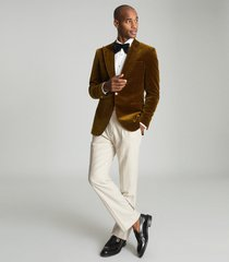 reiss bridge - twill tailored flared trousers in ecru, mens, size 38