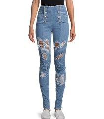 balmain women's high-rise distressed jeans - blue - size 34 (2)