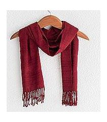 rayon scarf, 'color and texture in wine' (guatemala)