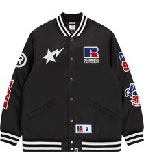 a bathing ape® x russell college varsity jacket - black
