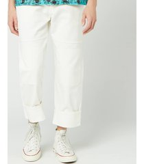 jw anderson men's patched denim trousers - off white - 46/m