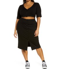 plus size women's bp. cutout rib dress, size 1x - black