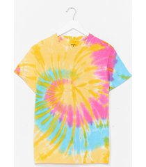 womens good vibes tie dye relaxed tee - yellow