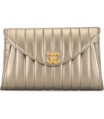 chanel pre-owned 1992 mademoiselle party clutch - gold