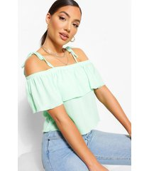 strappy tie up rib tiered top, mint