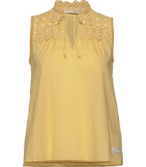 finest embroidery blouse blouse mouwloos geel odd molly