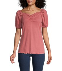 status by chenault women's ruched bodice top - mauve - size xl