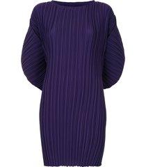 bambah pleated batwing sleeve mini dress - purple