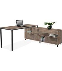 conjunto de mesa de 1,60 c/ armário lateral 1,60 direito terrarun giobel marrom