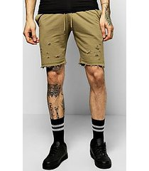 jersey shorts with distressing and  raw edges
