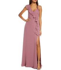 women's marchesa notte ruffle chiffon a-line gown