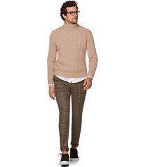 men's suitsupply rib men's turtleneck sweater, size xx-large r - beige