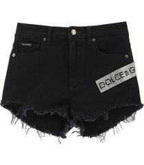 dolce & gabbana denim shorts with crystal logo