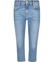 msgm crystal logo embellishment cropped jeans