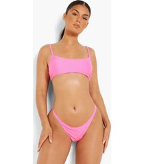 korte bikini top met bandjes, pink