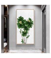 quadro 100x50cm folhas tropicais plumeira flores jardim canvas em moldura flutuante filete