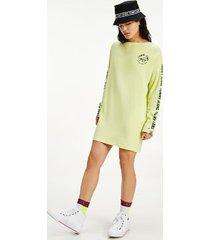 tommy hilfiger women's organic cotton logo long sleeve dress faded lime - xs