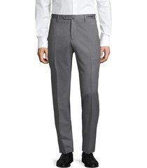 pt01 men's slim-fit stretch flat-front trousers - melange coal - size 50 (34)