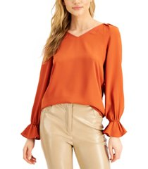 bar iii flounce-sleeve top, created for macy's