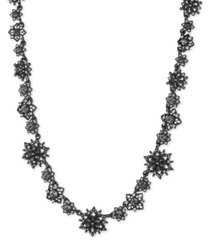 "marchesa hematite-tone crystal & imitation pearl cluster collar necklace, 16"" + 3"" extender"
