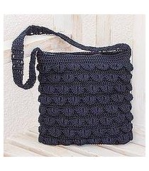 crocheted shoulder bag, 'summer frill in navy' (guatemala)