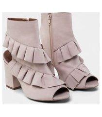 lez a lez - bota ankle boot nobuck babados rosa beleza