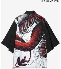 marvel spider-man venom print drop shoulder kimono cardigan