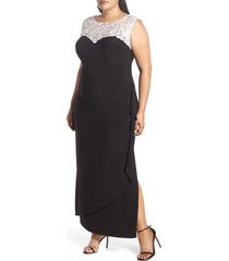 plus size women's alex evenings embroidered side ruched gown